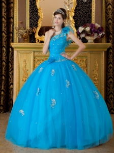 Low Price Quinceanera Dress Teal One Shoulder Tulle Appliques Ball Gown