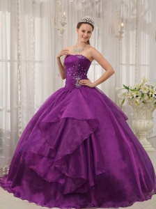 Low Price Purple Quinceanera Dress Strapless Organza Beading Ball Gown