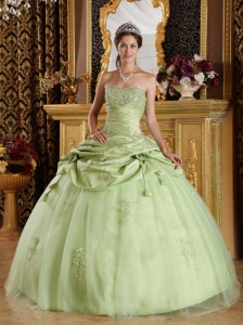 Luxurious Yellow Green Quinceanera Dress Strapless Tulle and Taffeta Beading Ball Gown