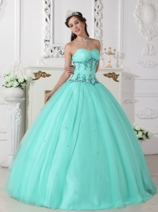 a6638abc6b6 Modern Turquoise Quinceanera Dress Sweetheart Tulle and Taffeta Beading  Ball Gown  US  143.2720