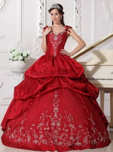 Modest Wine Red Quinceanera Dress Straps Floor-length Taffeta Embroidery Ball Gown