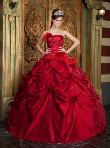 New Red Quinceanera Dress Strapless Taffeta Hand Made Flowers Ball Gown
