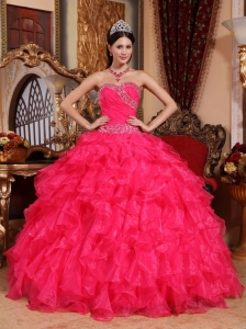 Perfect Coral Red Quinceanera Dress Sweetheart Organza Beading Ball Gown