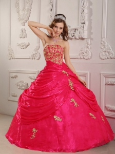 Perfect Hot Pink Quinceanera Dress Strapless Organza Appliques Ball Gown