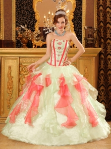 Perfect Multi-Color Quinceanera Dress Sweetheart Organza Appliques Ball Gown