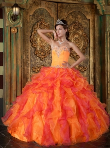 Popular Orange Quinceanera Dress Sweetheart Ruffles Organza A-Line / Princess