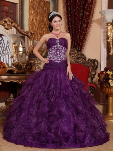 Popular Purple Quinceanera Dress Sweetheart Organza Beading A-line