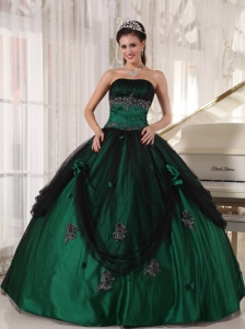 Pretty Green Quinceanera Dress Strapless Tulle and Taffeta Beading Ball Gown