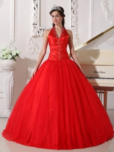 Pretty Red Quinceanera Dress Halter Tulle Beading Ball Gown