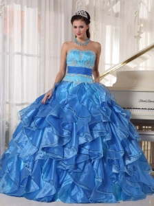 Romantic Blue Quinceanera Dress Strapless Organza Appliques Ball Gown