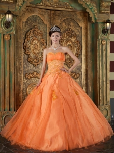 Simple Orange Quinceanera Dress Sweetheart Organza Appliques Ball Gown