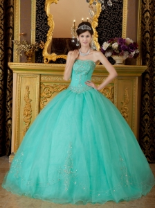 AffordableTurquoise Quinceanera Dress Strapless Organza Beading Ball Gown