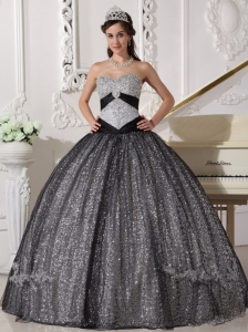 Beautiful Black Quinceanera Dress Sweetheart Sequined and Tulle Appliques Ball Gown