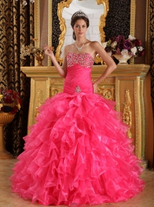 Hot Pink Exclusive Quinceanera Dress Sweetheart Organza Beading Ball Gown