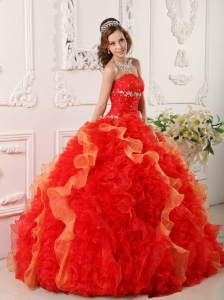 Discount Red Quinceanera Dress Sweetheart Organza Appliques and Beading Ball Gown