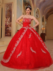 008066d8a4 Discount Red Quinceanera Dress Sweetheart Organza Embroidery and Beading  Ball Gown
