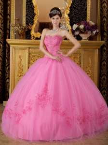 Discount Rose Pink Quinceanera Dress Sweetheart Tulle Appliques Ball Gown