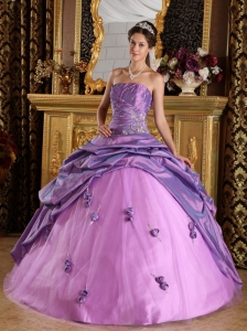 Exclusive Lavender Quinceanera Dress Strapless Taffeta Beading Ball Gown