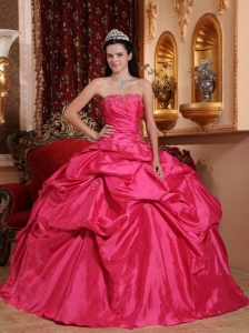 Exquisite Hot Pink Quinceanera Dress Strapless Taffeta Beading Ball Gown