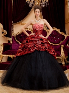 Exquisite Red and Black Quinceanera Dress Strapless Zebra and Tulle Hand Made Flowers Ball Gown