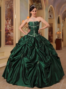 Latest Hunter Green Quinceanera Dress Strapless Beading Taffeta Ball Gown