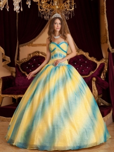 Low price Ombre Color Quinceanera Dress Sweetheart Beading Organza  Ball Gown