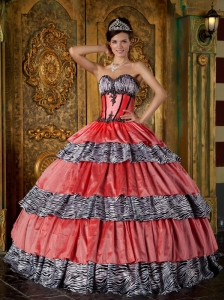 Luxurious Quinceanera Dress Sweetheart Zebra Ruffles Ball Gown