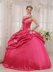 Modern Coral Red Quinceanera Dress One Shoulder Taffeta Beading Pick-ups Ball Gown