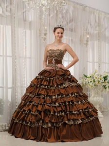 Modest Brown Quinceanera Dress Sweetheart Taffeta and Zebra or Leopard Ruffles Ball Gown