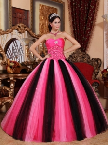 Modest Multi-colored Quinceanera Dress Sweetheart Tulle Beading Ball Gown
