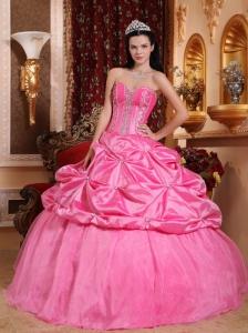 Modest Rose Pink Quinceanera Dress Sweetheart Taffeta Beading Ball Gown