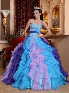 Multi-color Quinceanera Dress Sweetheart Organza Beading and Appliques Ball Gown