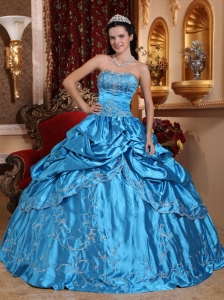 New Blue Quinceanera Dress Strapless Taffeta Embroidery with Beading Ball Gown