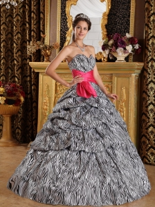 Popular Quinceanera Dress Sweetheart Floor-length Zebra Ball Gown