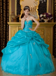 Popular Teal Quinceanera Dress Sweetheart  Organza Appliques Ball Gown