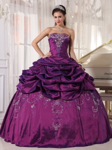 Cheap White Dress on Pretty Eggplant Purple Quinceanera Dress Strapless Taffeta Embroidery