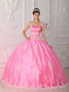 Pretty Pink Quinceanera Dress Strapless Lace Appliques Ball Gown