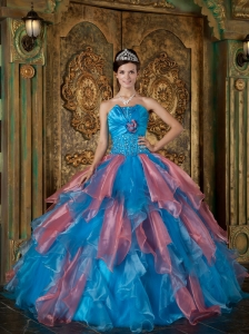 Remarkable Sky Blue and Watermelon Quinceanera Dress Strapless Organza Beading and Ruffles Ball Gown