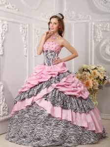 Romantic Pink Quinceanera Dress Strapless Taffeta and Zebra Beading Ball Gown