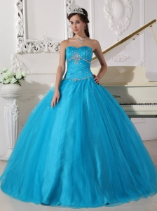 Romantic Teal Quinceanera Dress Strapless Tulle Beading and Ruch Ball Gown