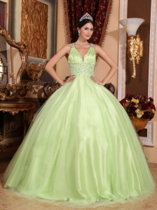 Simple Yellow Green Quinceanera Dress  V-neck Tulle and Taffeta Beading Ball Gown