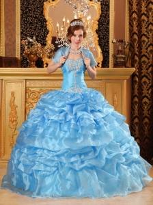 Sweet Aqua Blue Quinceanera Dress Sweetheart Organza Appliques Ball Gown