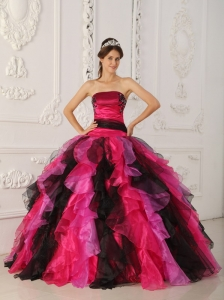 Wonderful Multi-color Quinceanera Dress Strapless Organza Appliques and Ruffles Ball Gown