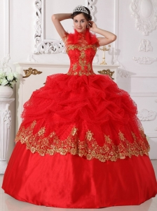 Affordable Red and Gold Quinceanera Dress Halter Taffeta Beading and Appliques Ball Gown