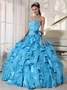 Beautiful Aqua Blue Quinceanera Dress Sweetheart Floor-length Organza Beading Ball Gown