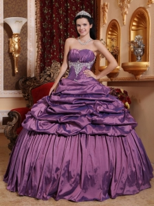 Brand New Lavender Quinceanera Dress Strapless Taffeta Appliques Ball Gown