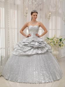 Brand New Silver Quinceanera Dress Sweetheart Appliques Ball Gown