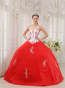 Classical White and Red Quinceanera Dress Sweetheart Taffeta and Organza Appliques Ball Gown