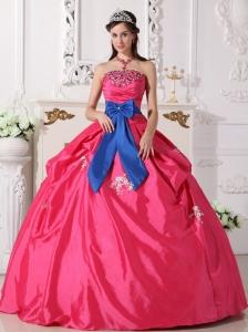 Discount Hot Pink Quinceanera Dress Strapless Taffeta Beading Ball Gown