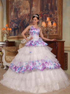 Elegant Quinceanera Dress Straps Hand Flowers Organza and Printing Ball Gown